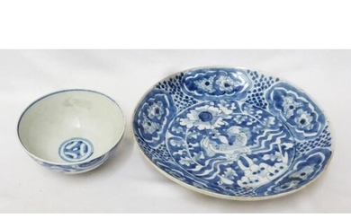 Chinese Blue & White Dished Plate, with flowers to centre, a...