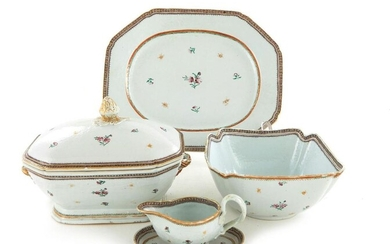 Chinese Export famille rose porcelain partial dinner service (38set)
