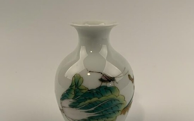 Chinese Famille Rose Cabbage and Cricket Vase 6-1/2''