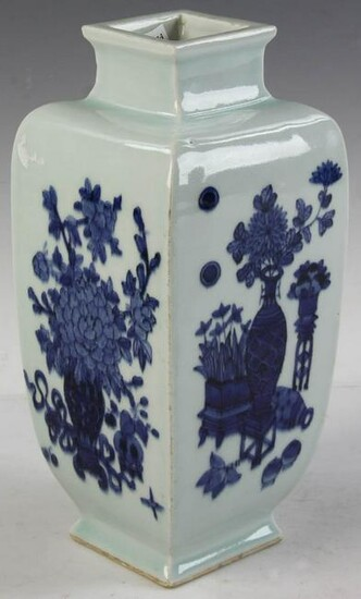 Chinese Light Green Blue and White Vase