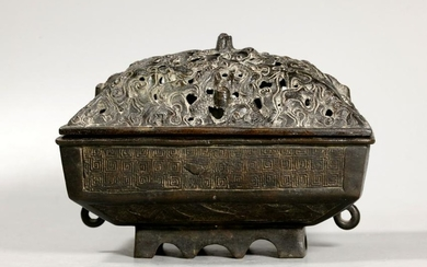 Chinese Ming Dynasty Bronze Censer Dragon Cover