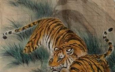 Chinese Painting of Tigers by Zhang Shitong