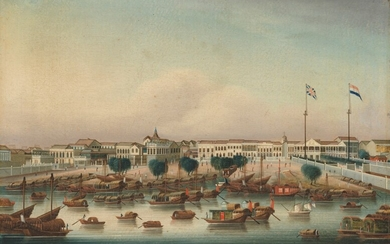 Chinese School, circa 1828, The Hongs at Canton with the British and Dutch factories in residence