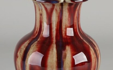 Chinese porcelain vase with red / blue expired glaze +