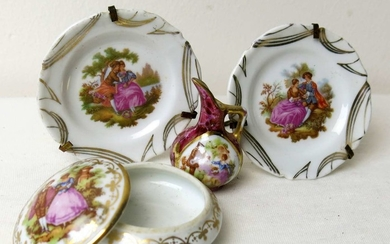 Collection of 4 Miniature Porcelain Items made by Limoges