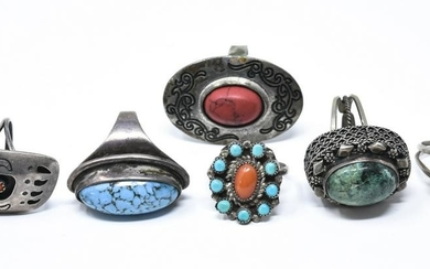 Collection of Vintage Sterling & Silver Rings