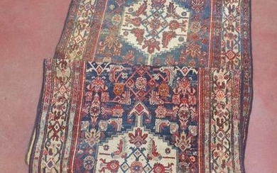 Corridor carpet with three wool medallions. Ancient Persian...