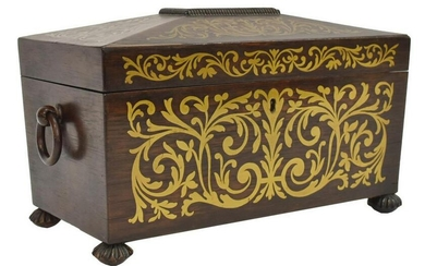 ENGLISH BRASS INLAID ROSEWOOD FITTED TEA CADDY