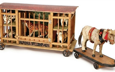 ERZGEBIRGE menagerie-car, with 5 wild animals, draught