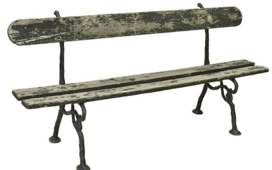 FRENCH PAINTED WOOD & CAST IRON GARDEN BENCH