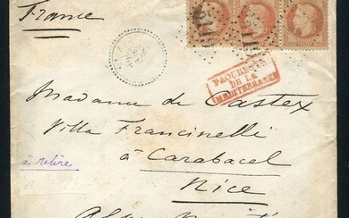 "France - Rare letter from Cairo with a strip of three No. 31 stamps - ""GC 5119"" postmark"