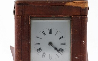 French Brass Carriage Clock in Case, Movement Marked S F, With Key(H:11cm)