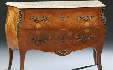 French Louis XV Style Marble Top Marquetry Inlaid