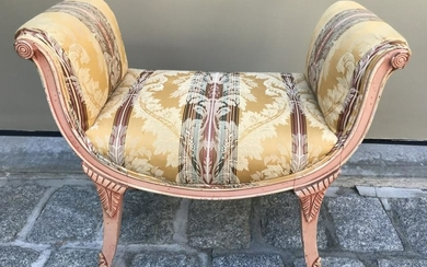 French Rococo Style Carved & Upholstered Bench
