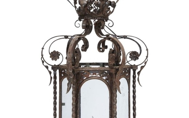 French School 19th century A wrought iron hanging lantern....