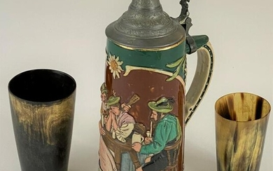 German Stein and Horn Cups