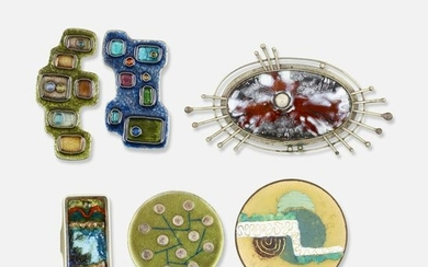 Group of mid-Century enamel jewelry