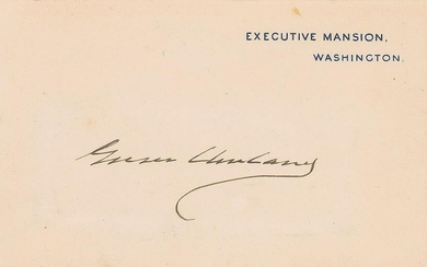 Grover Cleveland Signed WH card