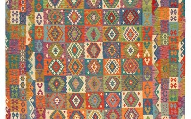 """Hand woven Bold & Colorful Multi Color Wool Kilim 9'10"""""""