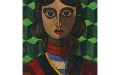 Head and shoulders portrait of a female, Russian school oil ...