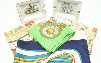HermËs Silk Scarf with Three HermËs Style Scarves