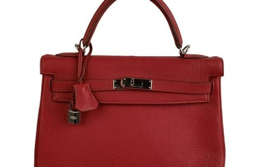 Hermes Red Leather Retourne Kelly 32 Top Handle Bag