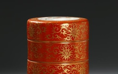 Iron-Red Ground and Gilt-Decorated Tiered Box