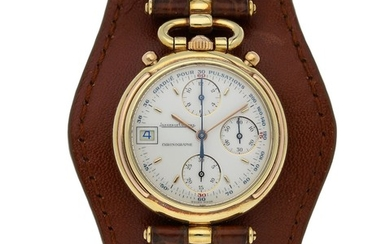 Jaeger-LeCoultre. A Yellow Gold Chronograph Wristwatch with Date