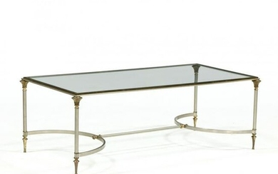 Jansen, Vintage Steel and Brass Coffee Table