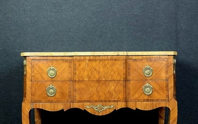 Jumping chest of precious wood marquetry - Louis XV Style - Wood