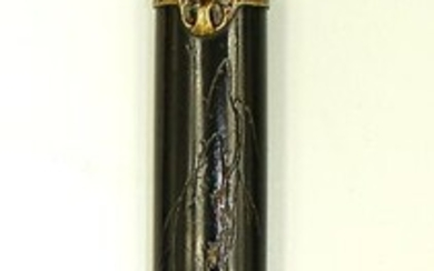 Kiseruzutsu 煙 管 筒 (pipe case) - Lacquered bamboo - Decorated with egret, willow and bird - Japan - Meiji period (1868-1912)