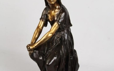 L. GREGOIRE, 19TH C. FRENCH BRONZE OF SEATED WOMAN