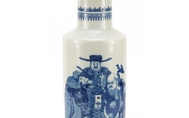 Large Chinese blue and white porcelain rouleau vase hand pai...