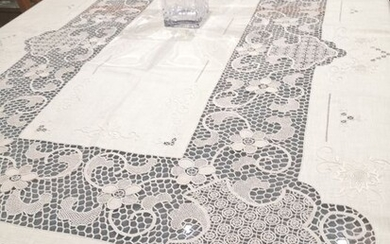 Linen and Burano lace tablecloth - 270 x 165 cm - Linen - Late 20th century