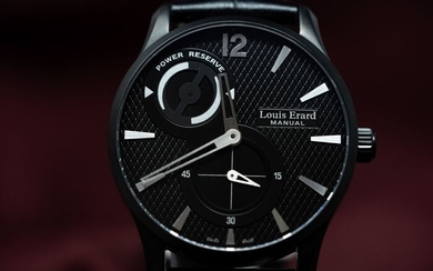 Louis Erard - 1931 Collection Power Reserve with Manual Winding Movement Black PVD Leather Strap Swiss Made- 53209AN02.BDC58 - Men - NEW