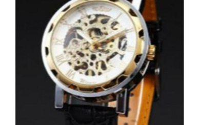 Mechanical Skeleton Stainless Steel Wristwatch