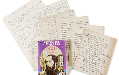 Munby (Arthur Joseph) 22 Autograph manuscript poems addressed to his wife Hannah Cullwick, 1882-1900; 4 Autograph postcards signed to Hannah Cullwick, 4 sides, in French, 1890-96, about her welfare etc.; and newspaper cuttings of articles, 1910 and...