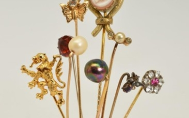 NINE STICKPINS, to include an oval cameo stickpin depicting ...