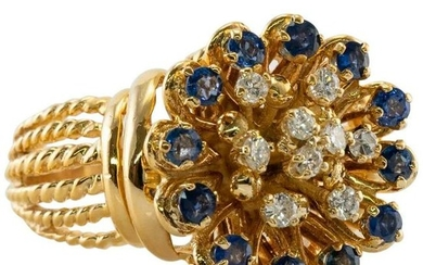 Natural Blue Sapphire Diamond Ring 18K Yellow Gold