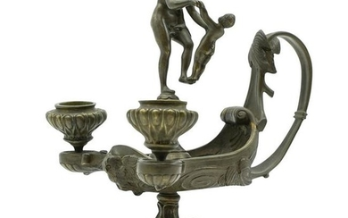Neoclassical Bronze Candle Holder