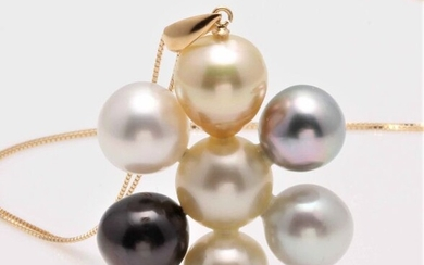 No reserve price - 18 kt. Yellow Gold - 9x10mm South Sea and Tahitian Pearls - Necklace with pendant