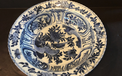 OLD Large Chinese Blue and White Bowl, Ming period. 10 1/2' X 3""