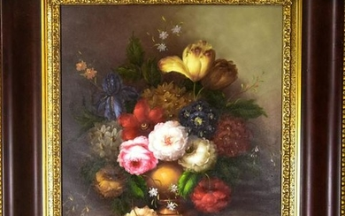 Old Master Style Floral Still Life Oil Painting