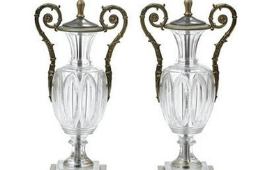 PAIR OF CHARLES X STYLE GILT BRONZE/CUT GLASS URN/LAMPS