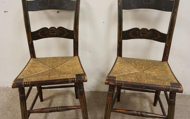 PAIR OF PAINT DECORATED STENCILED RUSH SEAT CHAIRS