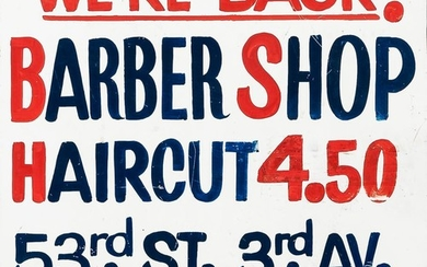 Painted Tin Barber Shop Sign