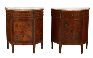 Pair Continental bronze-mounted marquetry-inlaid marbletop commodes (2pcs)