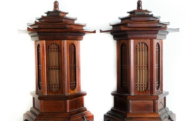Pair, Vintage Pagoda Form Wood Table Lamps