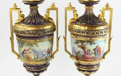 Pair of 19thC French Hand Painted Urns