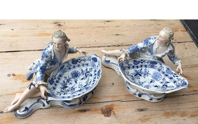 Pair of Antique Meissen Blue and White Figural Salts - appro...